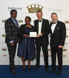 Winner of the international aid and development category, Tearfund with comedian Stephen K Amos and Paul Stockton, chairman at Moore Stephens