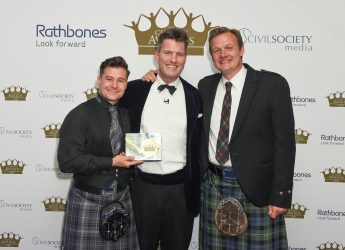 Overall award winners, Who Cares? Scotland with Andy Pitt, head of charities at overall awards partner, Rathbones